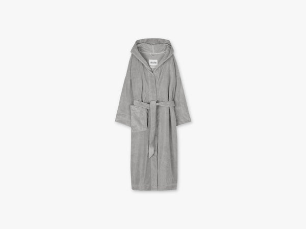 Hooded Bathrobe Terry, Dried Linen fra Aiayu