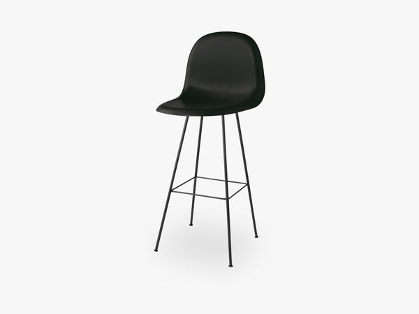 3D Bar Chair - Un-upholstered - 75 cm Center Black base, Midnight Black shell fra GUBI