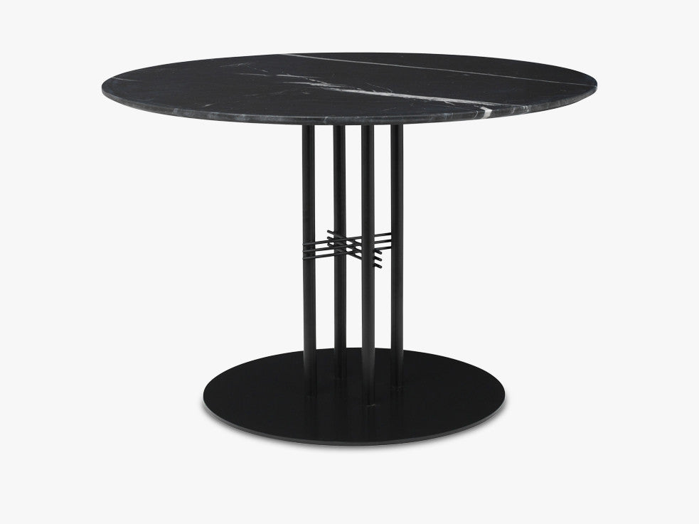 TS Column - Lounge table - Dia 110 Black base, Marble black top fra GUBI