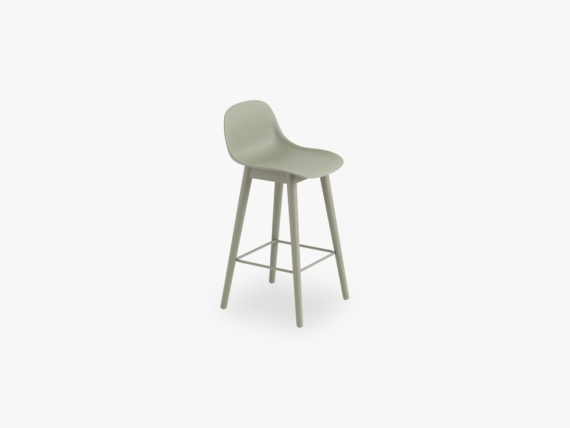 Fiber Bar Stool W Backrest - Wood Base H: 65 Cm, Dusty Green/Dusty Green fra Muuto
