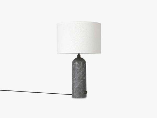 Gravity Table Lamp Small - Grey Marble base, White shade fra GUBI