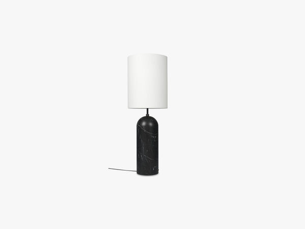 Gravity Floor Lamp - XL High - Black Marble base, White fra GUBI
