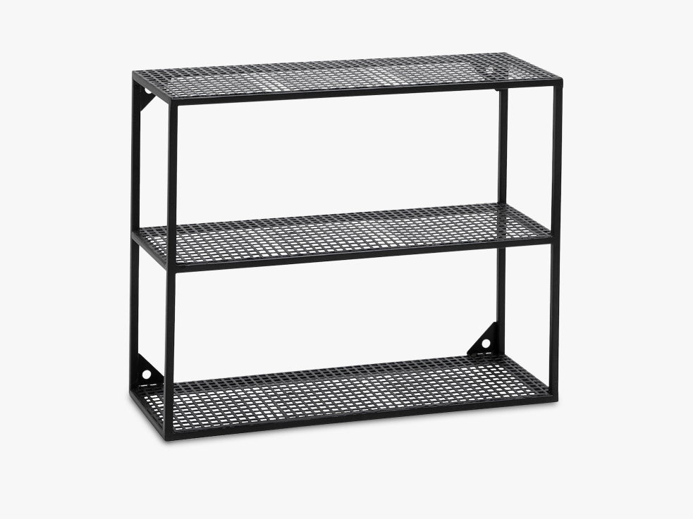 WIRE rack for wall, 3 shelves, black fra Nordal