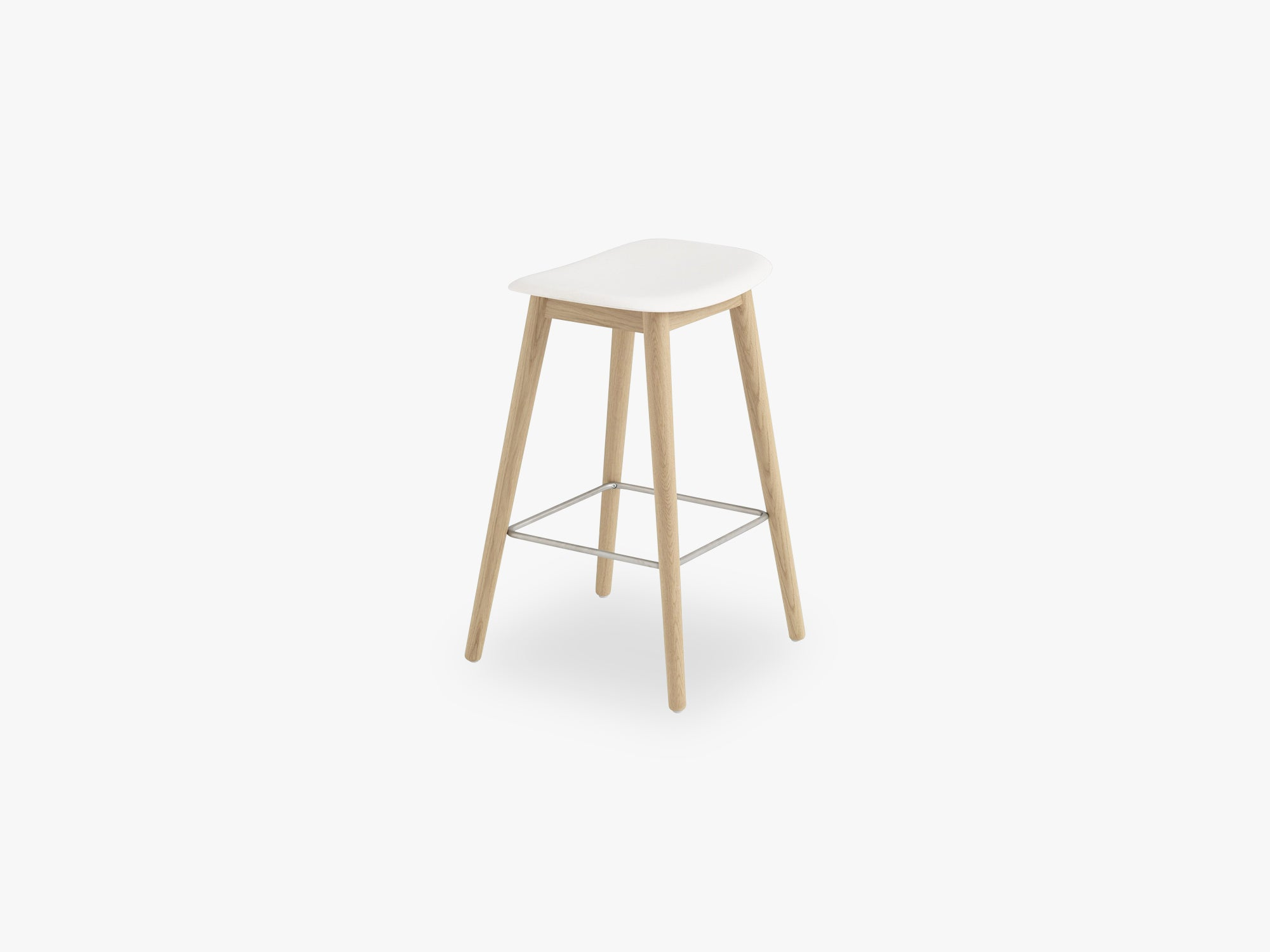 Fiber Bar Stool - Wood Base H: 65 Cm, Natural White/Oak fra Muuto