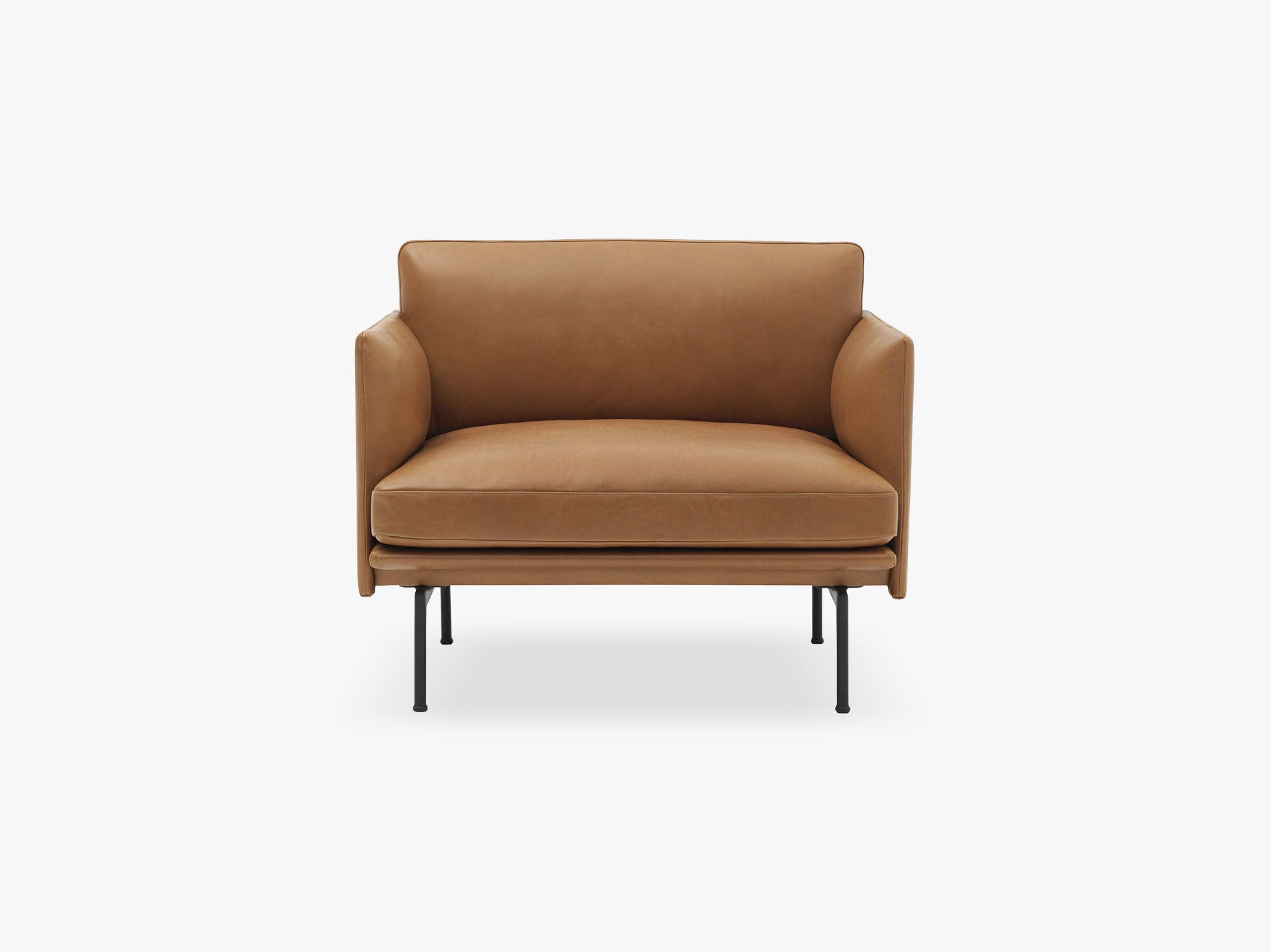 Outline Chair, Silk Leather - Cognac fra Muuto