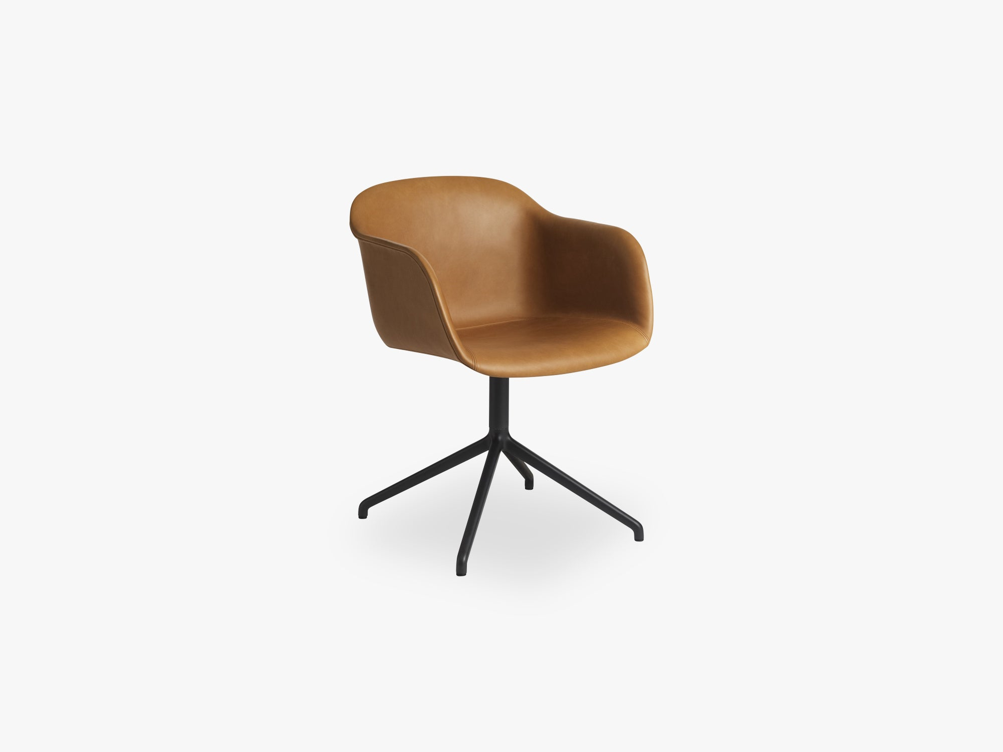 Fiber Armchair - Swivel Base WO Return - Leather Shell, Silk Leather - Cognac/Black fra Muuto