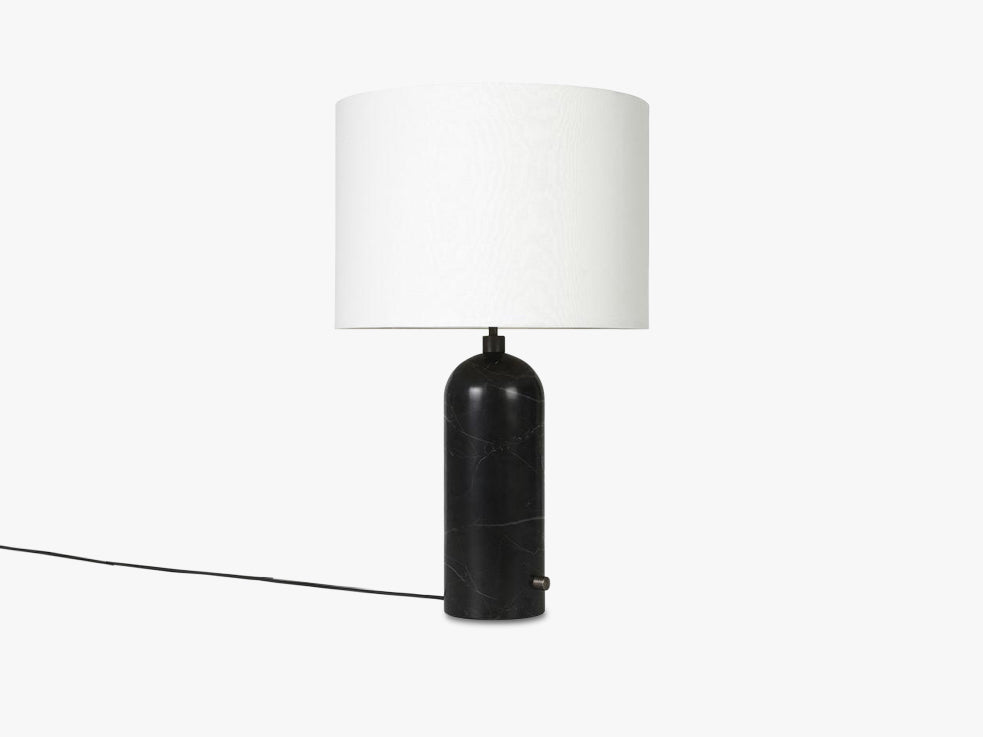 Gravity Table Lamp Large - Black Marble base, White shade fra GUBI