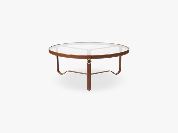 Adnet Coffee Table - Ø100, Tan Leather fra GUBI