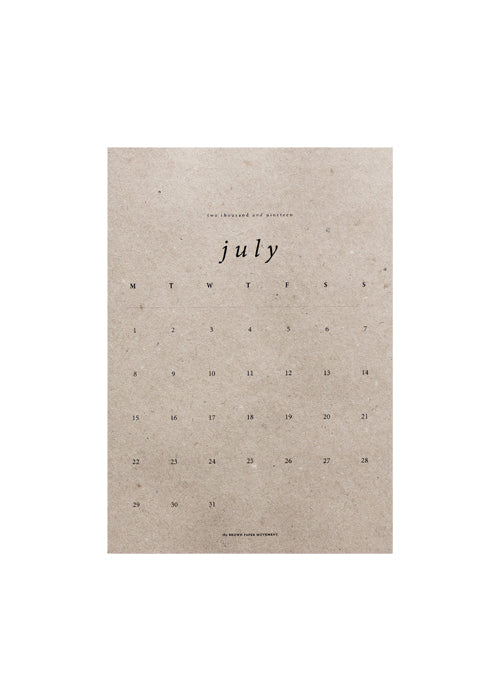 2019 Small, Kraft Kalendar fra the Brown Paper Movement