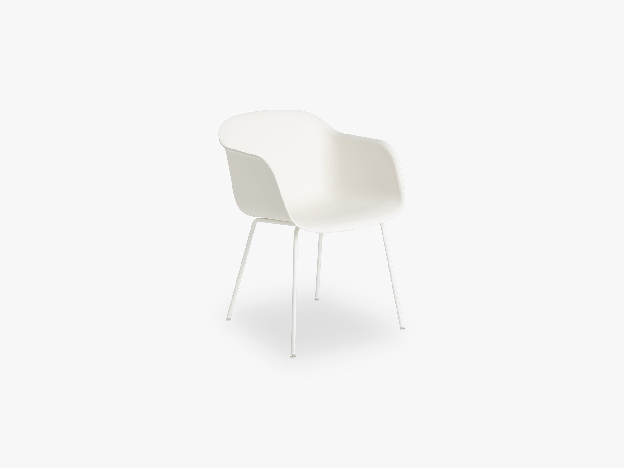 Fiber Armchair - Tube Base - Normal Shell, Natural White/White fra Muuto