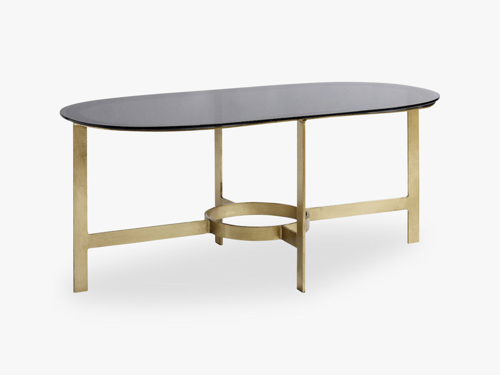 Coffee table, oval, brass w/black glass fra Nordal