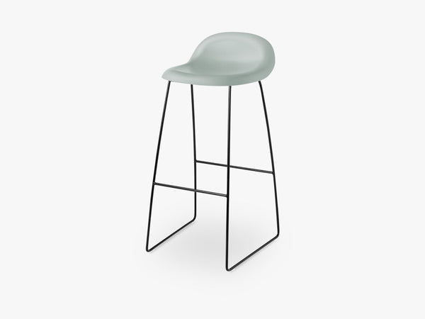 3D Bar Stool - Un-upholstered - 75 cm Sledge Black base, Nightfall Blue shell fra GUBI