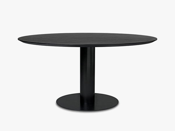 GUBI 2.0 Dining Table - Round - Dia 150 Black base, Black Stained Ash top fra GUBI