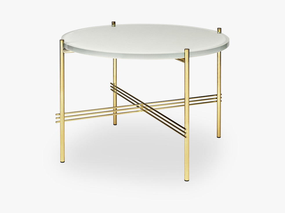 TS Coffee Table - Dia 55 Brass base, glass oyster white top fra GUBI