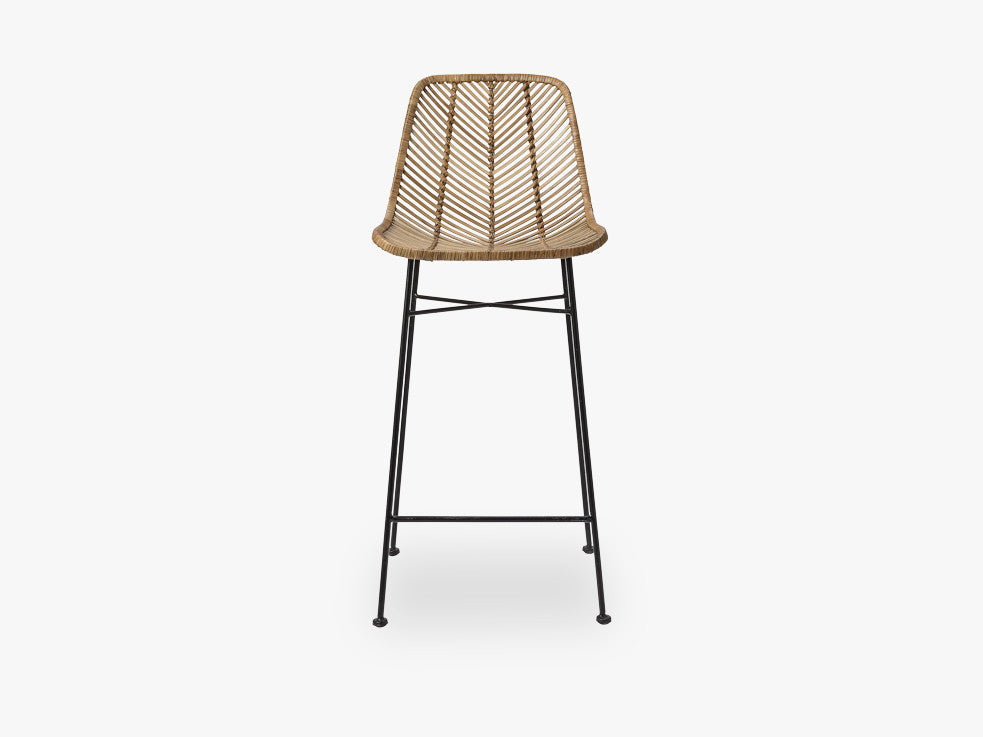 Indus Bar Stool, Rattan, Nature w/Black fra Bloomingville