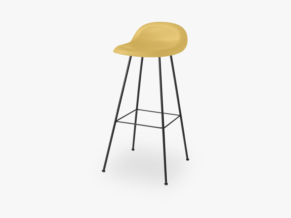 3D Bar Stool - Un-upholstered - 75 cm Center Black base, Venetian Gold shell fra GUBI