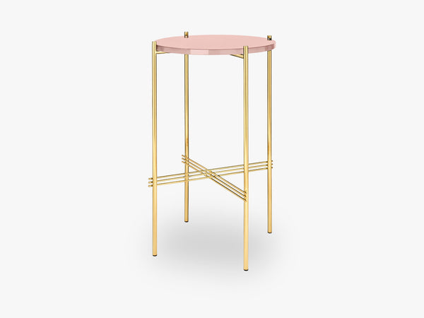 TS Console - Round - Dia 40 Brass base, glass vintage red top fra GUBI