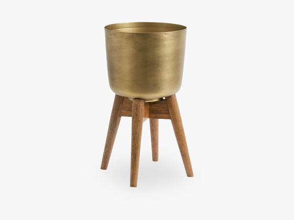 Planter on stand, medium, brass/wood fra Nordal