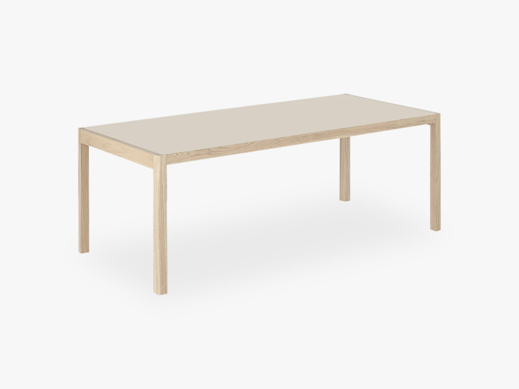 Workshop Table, 200 X 92 Cm, Warm Grey Linoleum / Oak fra Muuto