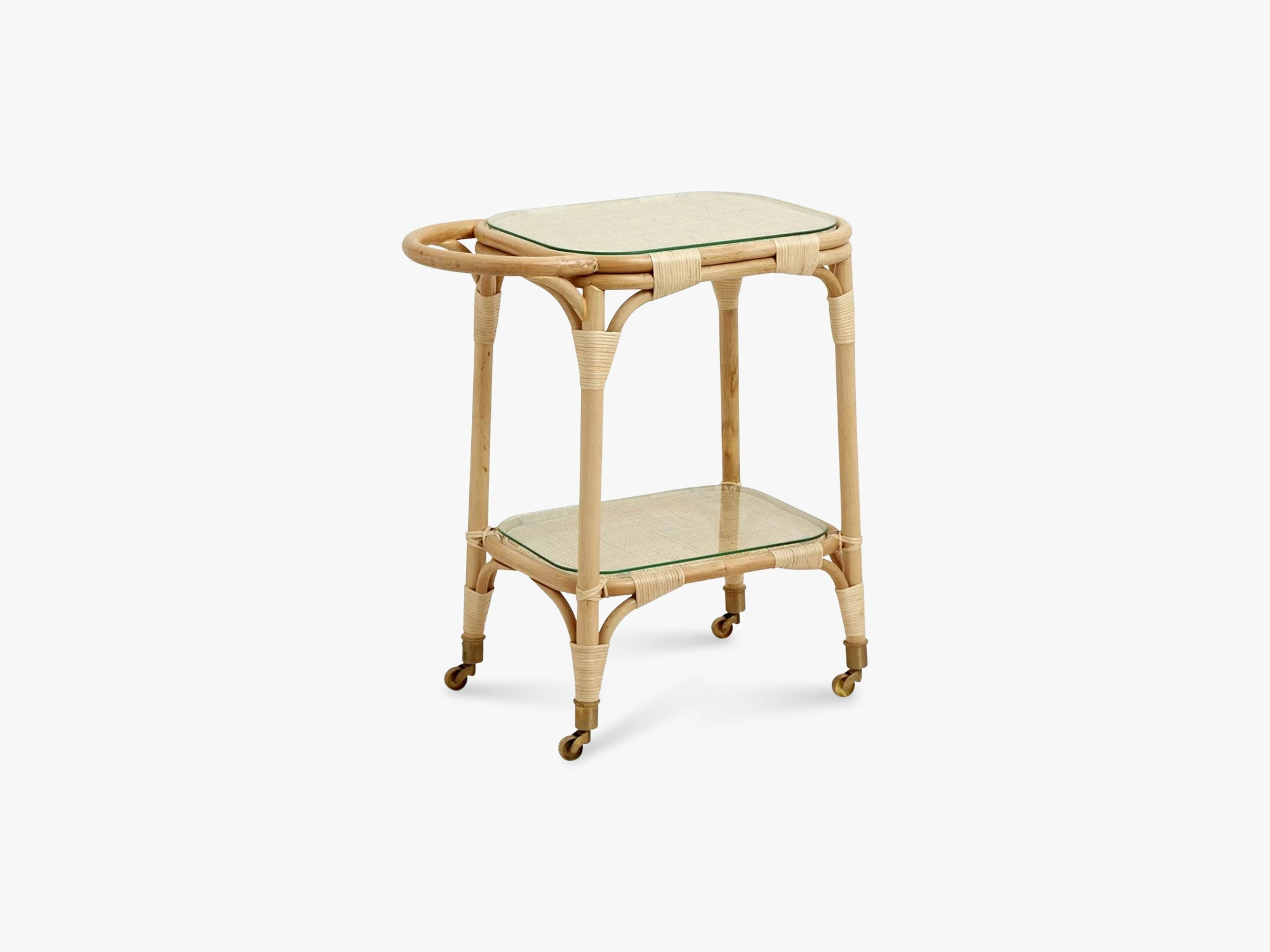 Rattan bar table w/brass wheels, glass fra Nordal
