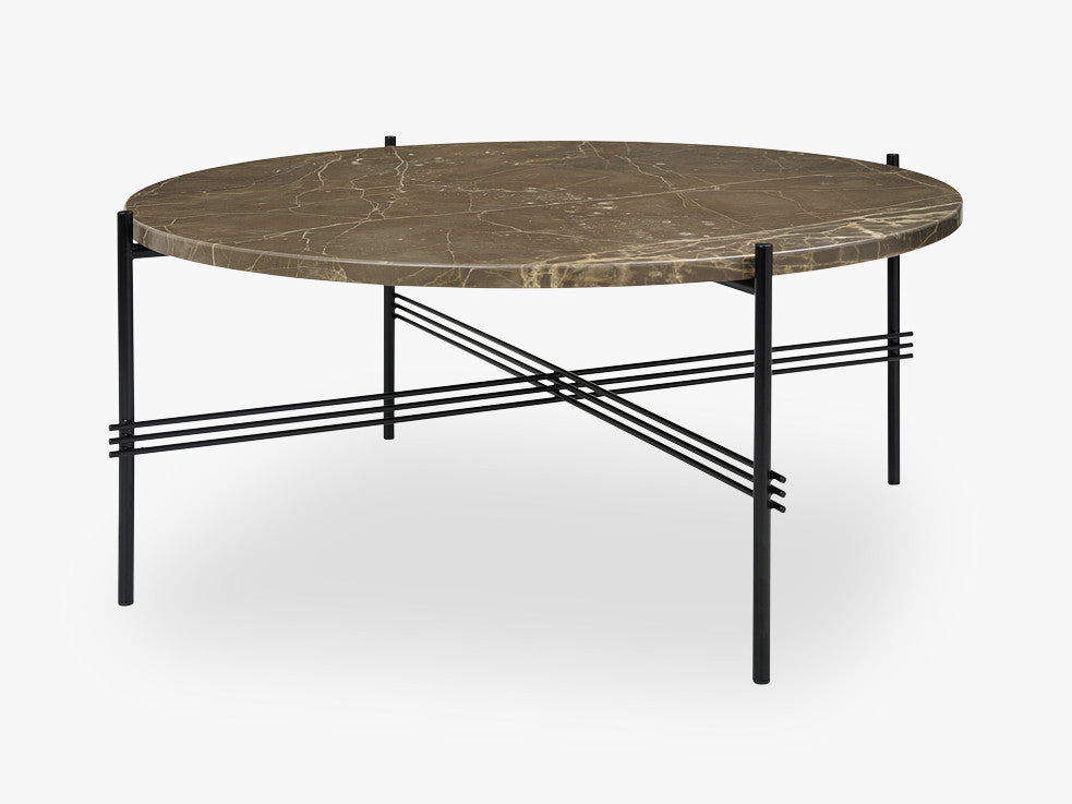TS Coffee Table - Dia 80 Black base, marble brown top fra GUBI