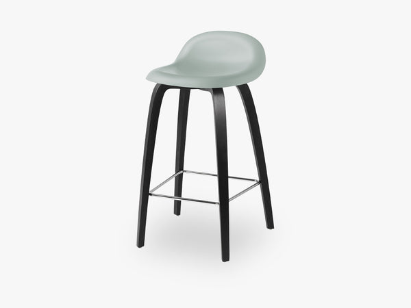 3D Counter Stool - Un-upholstered - 65 cm Black Stained Beech base, Nightfall Blue shell fra GUBI