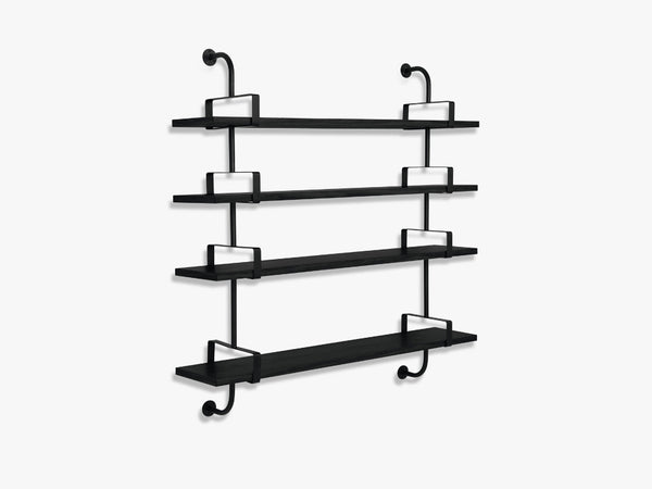 Démon Shelf - 2 Brackets - 155 cm 4 shelves, Black Stained Ash shell fra GUBI