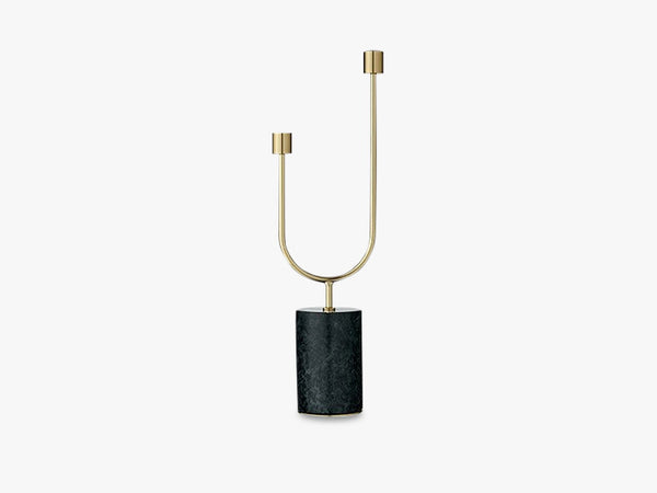 GRASIL Candle Holder - Grøn Marmor/Messing fra AYTM