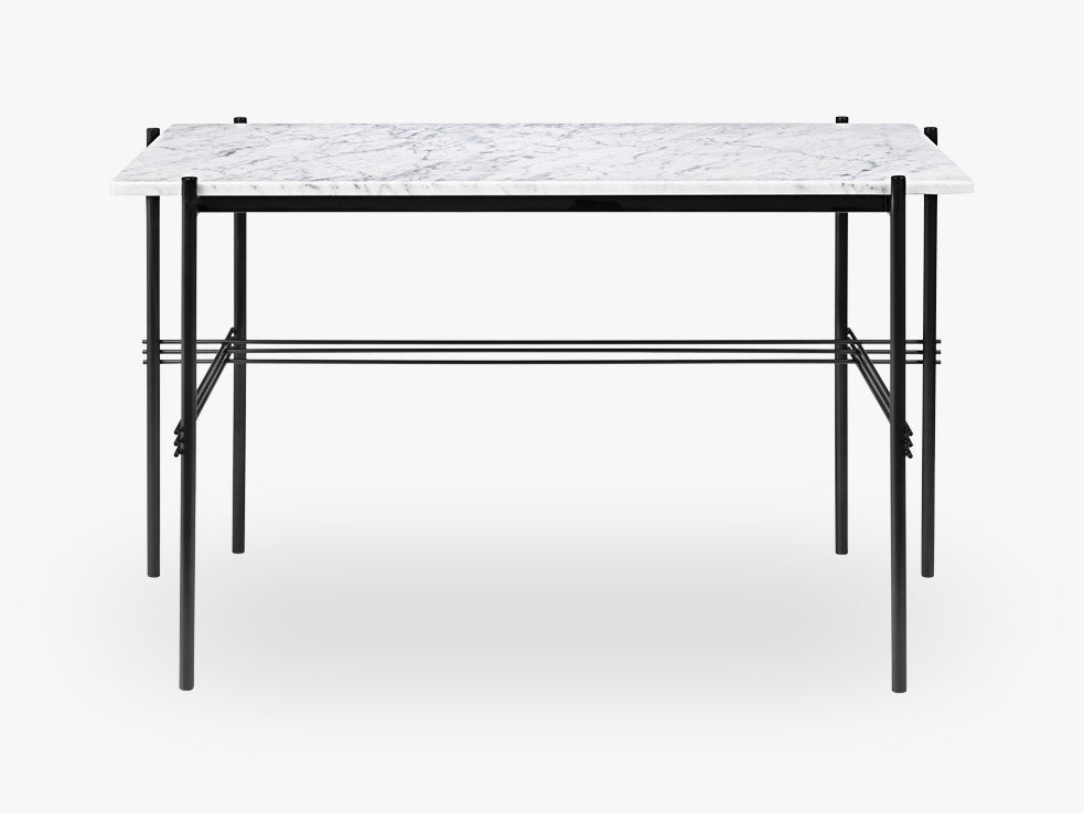 TS Desk - 120x60 Black base, Marble white top fra GUBI