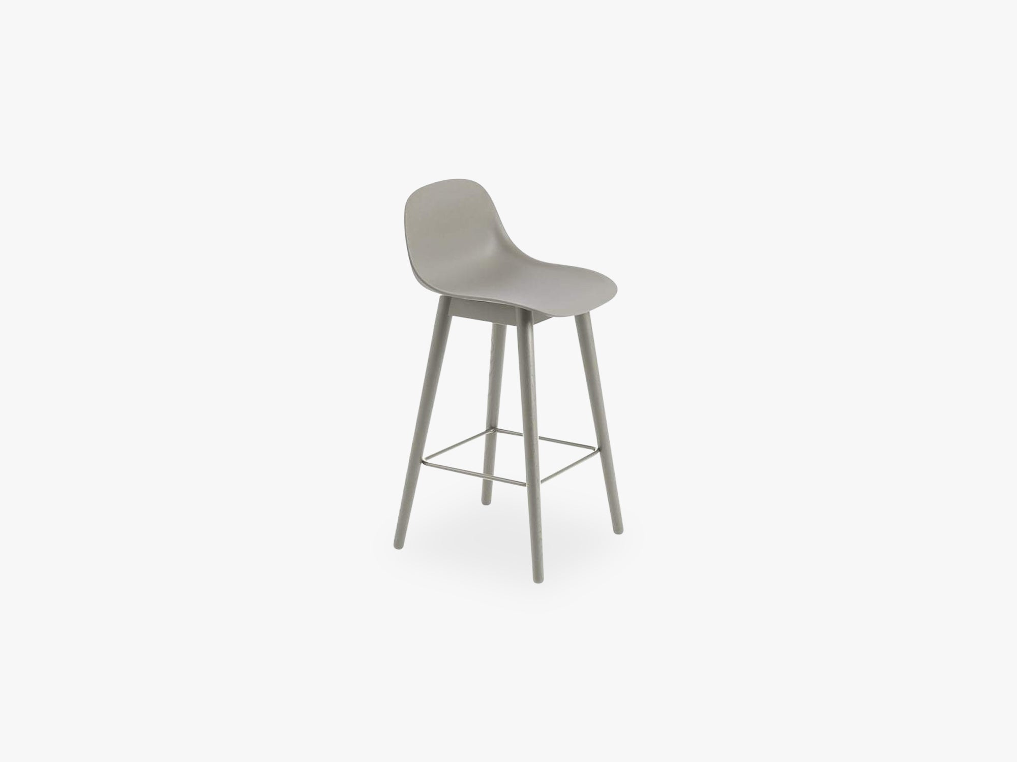 Fiber Bar Stool W Backrest - Wood Base H: 65 Cm, Grey/Grey fra Muuto