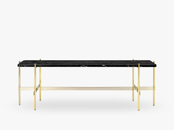 TS Console - 1 rack Brass base, marble black top fra GUBI