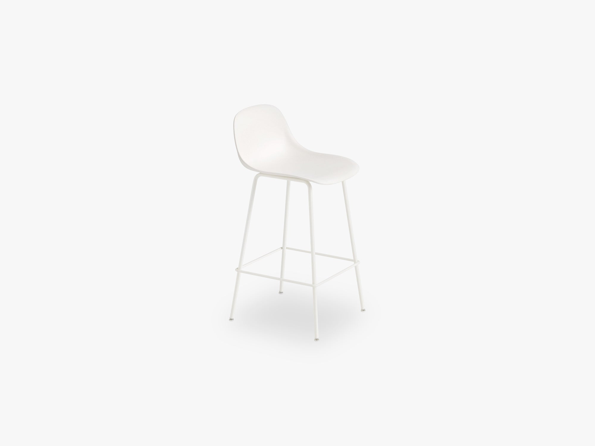 Fiber Bar Stool W Backrest - Tube Base H: 65 Cm, Natural White/White fra Muuto