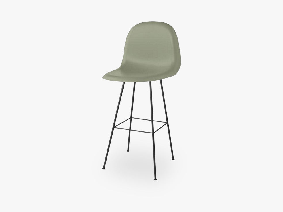 3D Bar Chair - Un-upholstered - 75 cm Center Black base, Mistletoe Green shell fra GUBI