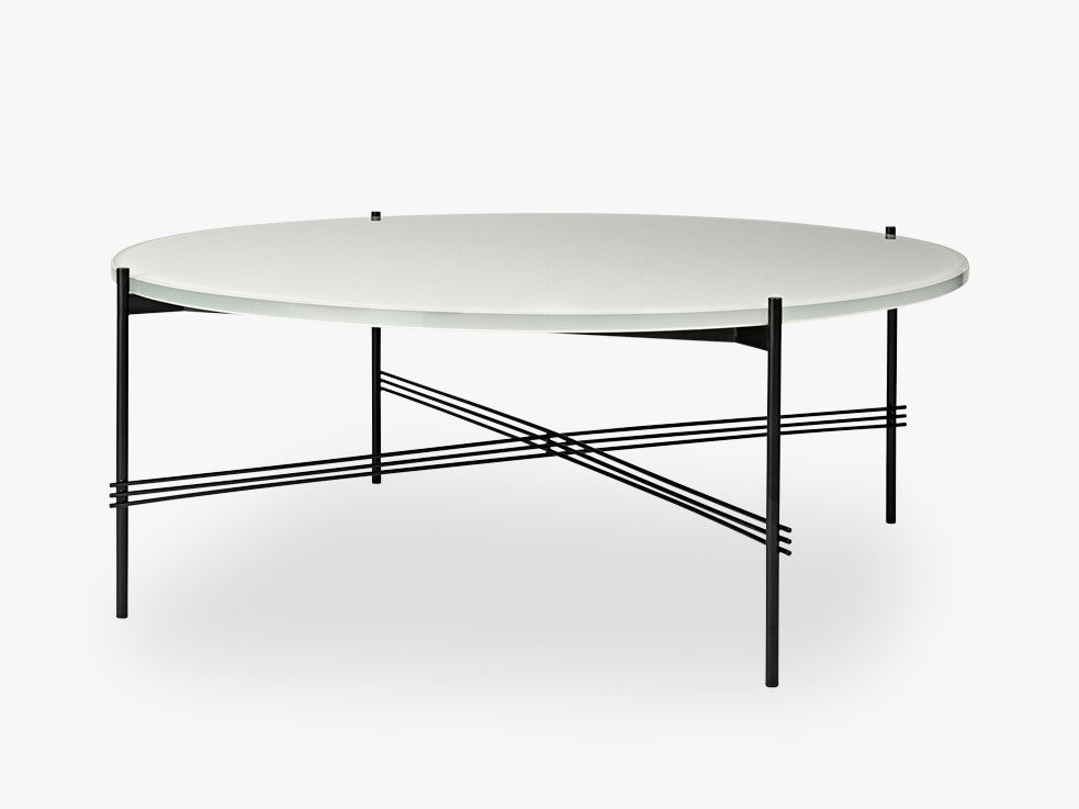 TS Coffee Table - Dia 105 Black base, glass oyster white top fra GUBI