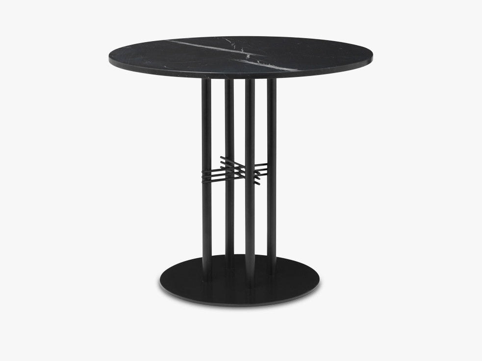 TS Column - Lounge table - Dia 80 Black base, Marble black top fra GUBI