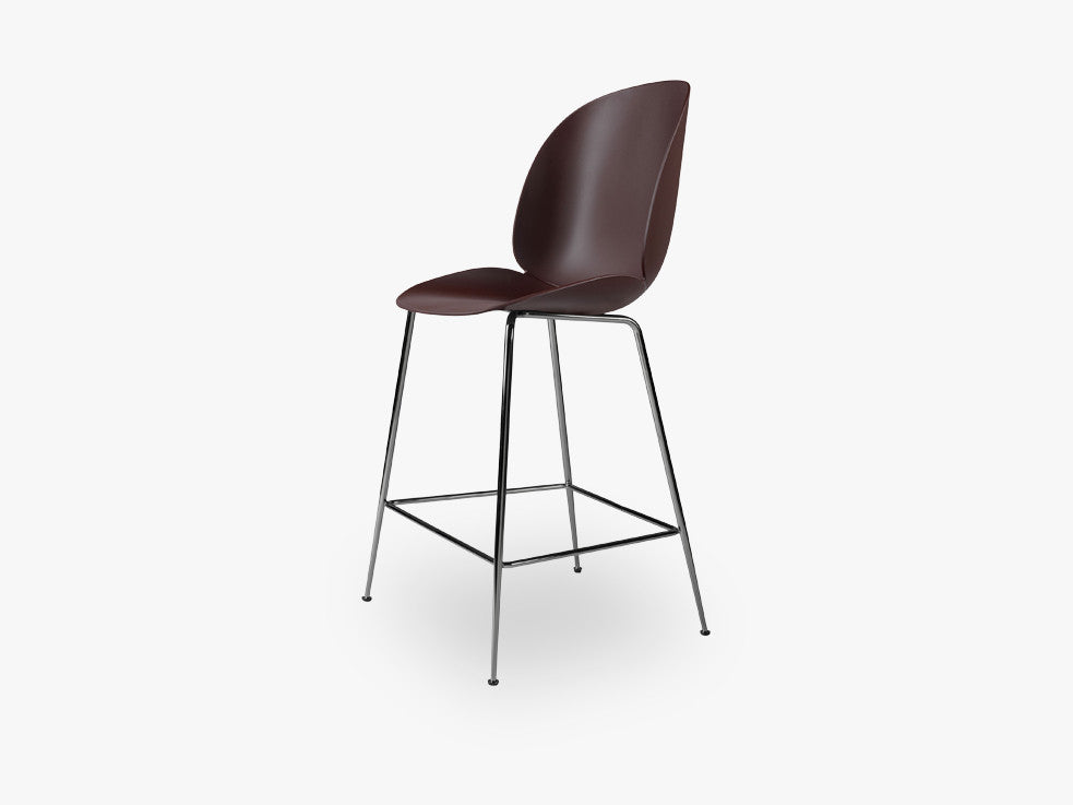 Beetle Counter Chair - Un-upholstered - 64 cm Conic Black Chrome base, Dark Pink shell fra GUBI