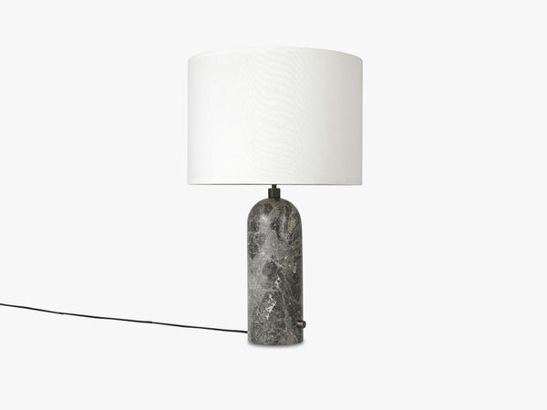 Gravity Table Lamp Large - Grey Marble base, White shade fra GUBI