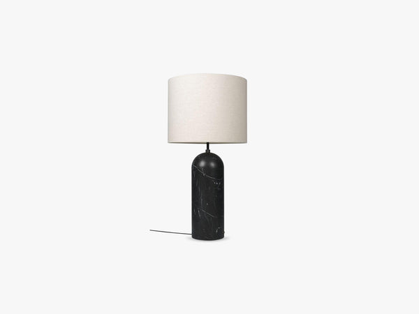 Gravity Floor Lamp - XL Low - Black Marble base, Canvas fra GUBI