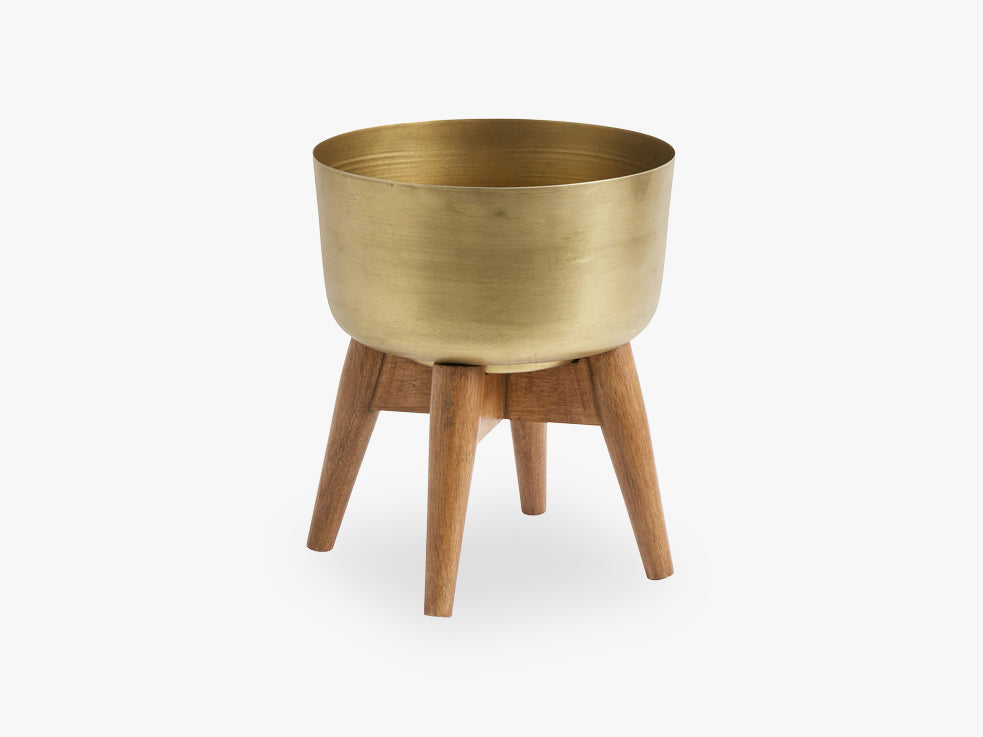 Planter on stand, small, brass/wood fra Nordal