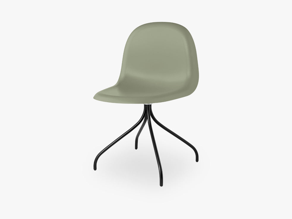 3D Dining Chair - Un-upholstered Swivel Black base, Mistletoe Green shell fra GUBI