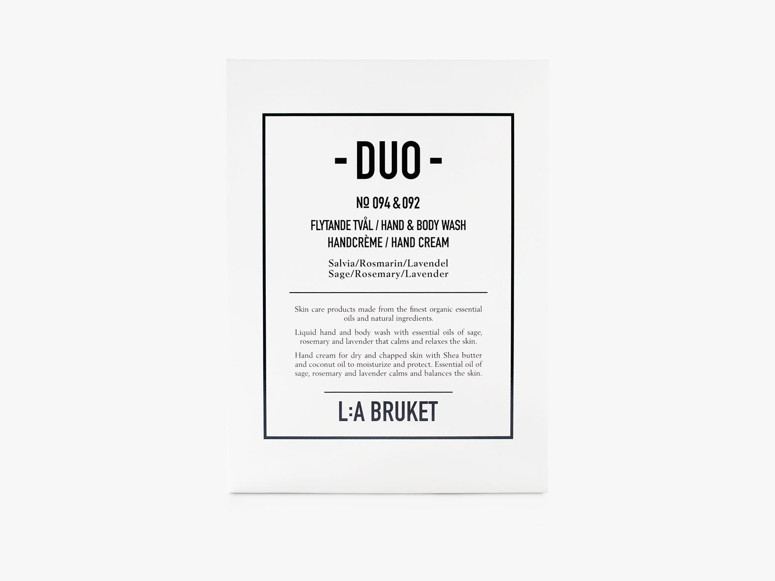 Duo-kit Liquid Soap Hand Cream Sage/Rosemary/Lavender fra L:A Bruket