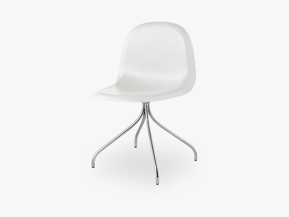 3D Dining Chair - Un-upholstered Swivel Chrome base, White Cloud shell fra GUBI