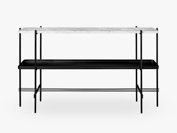 TS Console - 2 rack w tray Black base, Marble white top fra GUBI