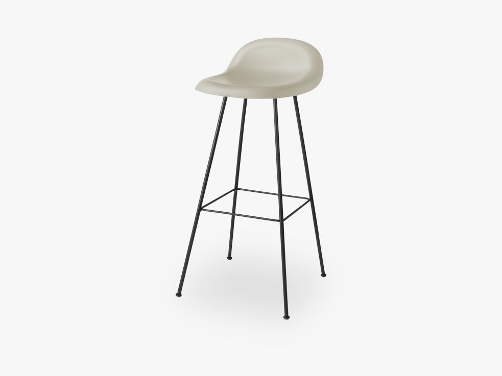 3D Bar Stool - Un-upholstered - 75 cm Center Black base, Moon Grey shell fra GUBI