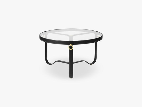 Adnet Coffee Table - Ø70, Black Leather fra GUBI