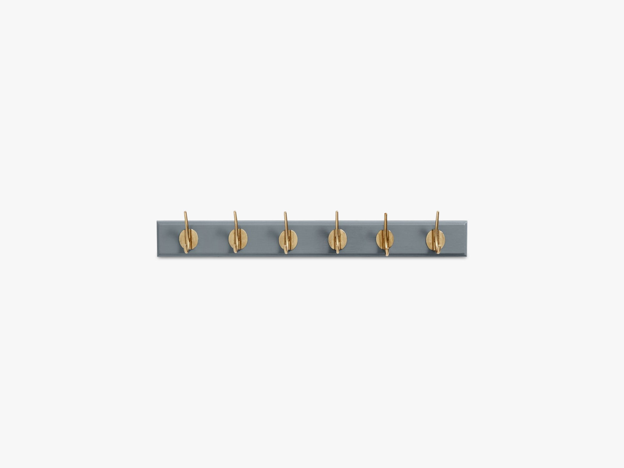 Coat rack, 6 brass hooks, matt grey fra Nordal