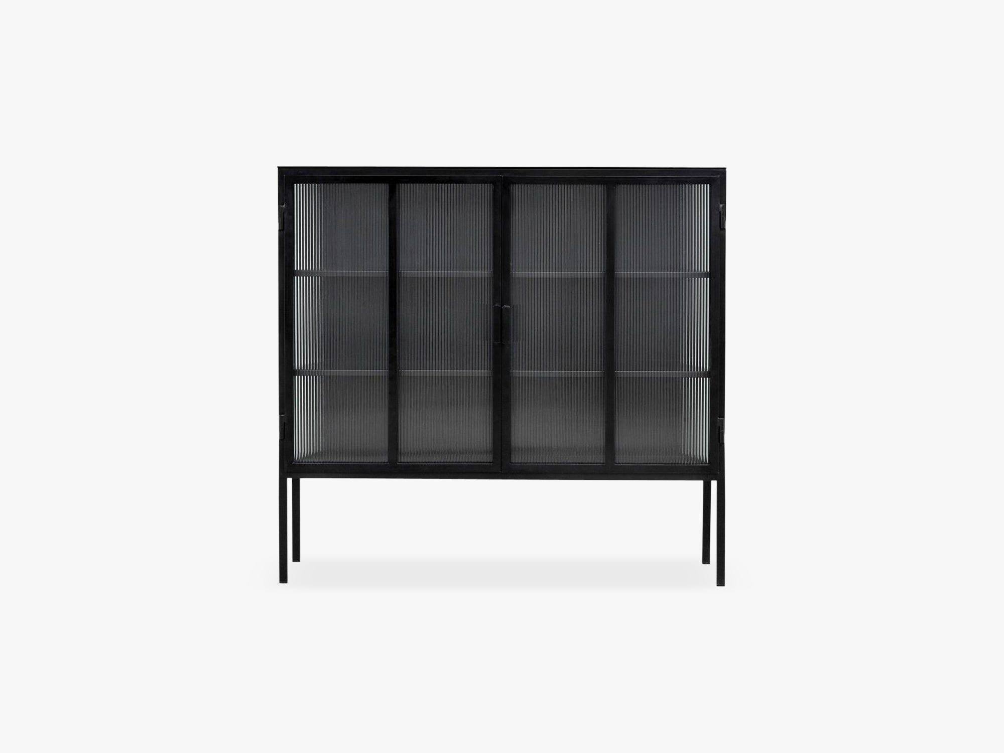 Black buffet, 2 doors, groovy glass fra Nordal
