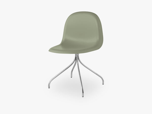 3D Dining Chair - Un-upholstered Swivel Chrome base, Mistletoe Green shell fra GUBI