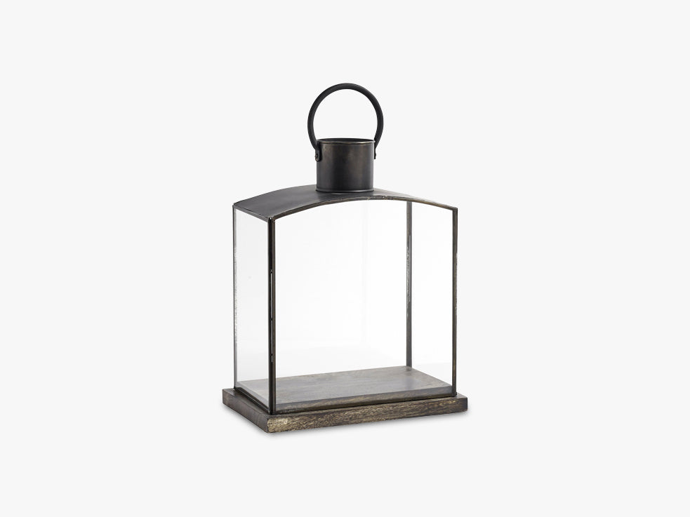 Lantern, black w/wooden base, small fra Nordal