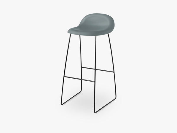 3D Bar Stool - Un-upholstered - 75 cm Sledge Black base, Rainy Grey shell fra GUBI